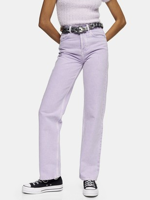 "Topshop 32"" Straight Leg Runway Jeans - Lilac"