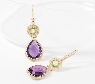 Arte d'Oro 13.4cttw Multi-Gemstone Drop Earrings 18K Gold