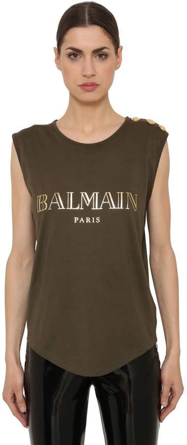 Balmain Logo Printed Jersey T-Shirt