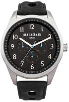 Ben Sherman Men's Quartz Watch with Black Dial Analogue Display and Black Leather Strap WB005B