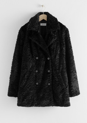 And other stories Faux Fur Double Breasted Coat