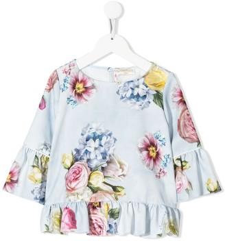 MonnaLisa Floral Print Ruffled Blouse
