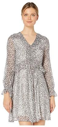CeCe Long Sleeve Mountain Leopard Pintuck Dress (Soft Pewter) Women's Dress