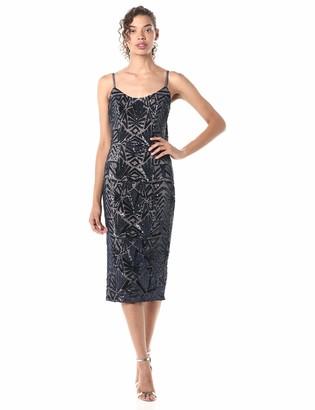 Dress the Population Women's Alexa Demi Neckline Sleeveless Midi Sheath Dress