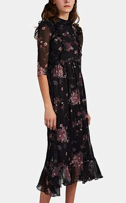 Laura Garcia Collection Women's Nicolette Floral Silk Chiffon Dress - Black