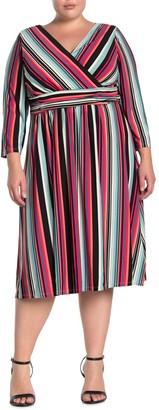 London Times Stripe Ruched Waist Dress (Plus Size)