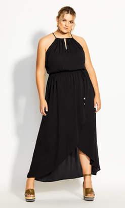 City Chic Hot Tropic Maxi Dress - black