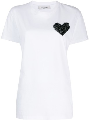 Valentino heart embroidery T-shirt