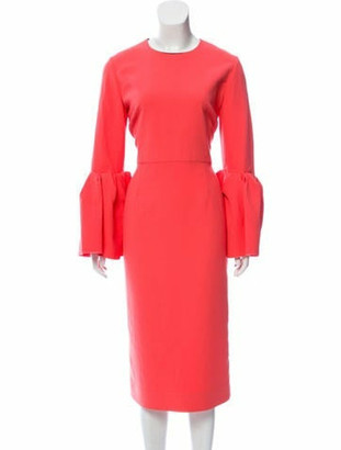 Roksanda Bell Sleeve Sheath Dress Coral