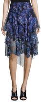 Jason Wu Ruffled Floral-Print Chiffon Skirt, Black/Iris