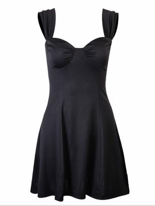 Freebily Women's Sleeveless Flared Dress Shoulder Strap Sexy Bodycon Pleated A-Line Mini Dress Black L