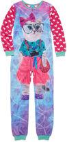 Asstd National Brand Sleep On It Long-Sleeve Photo Real Pink Cat Zip-Front Pajamas - Girls