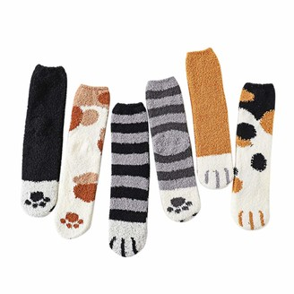 LINSINCH Socks Fancy Novelty Funny Casual Thermal Soft Women Fashion Lovely Cat Claw Coral Thickening Cotton Middle stockings (Gray+Khaki+Black+Yellow+White+Black 6 pairs One Size)