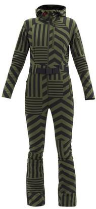 Perfect Moment Star Dazzle Striped Soft-shell Ski Suit - Black Green