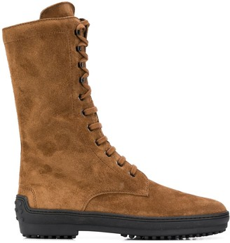 Tod's Lace-Up Mid-Calf Boots