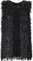 Catherine Malandrino Black Leather-Tassel Vest