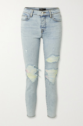 Amiri Mx1 Jersey-paneled Distressed High-rise Skinny Jeans - Light denim