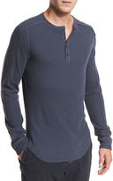 Vince Ribbed Raw-Edge Henley T-Shirt