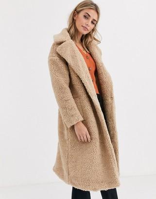 New Look maxi borg teddy coat in oatmeal