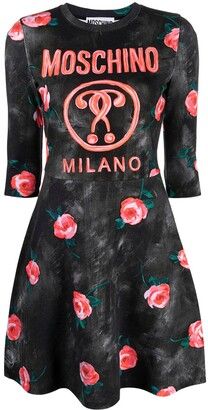 Moschino Double Question Mark rose print dress
