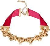 Steve Madden SMN460849GDFU Velvet Straps Rolo Gold Choker Necklace