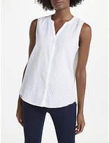 NYDJ Sleeveless Clipped Dot Shirt, Optic White