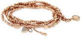 BCBGeneration Rose Gold-Tone Beaded Multi-Layer Charm Bracelet