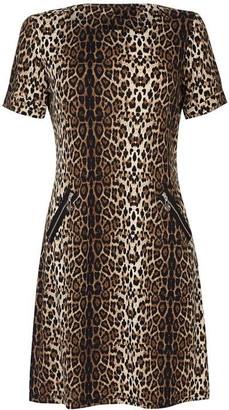 Yumi Curves Leopard Print Tunic Dress