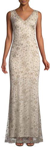 Tadashi Shoji Sleeveless Embroidered Lace Gown