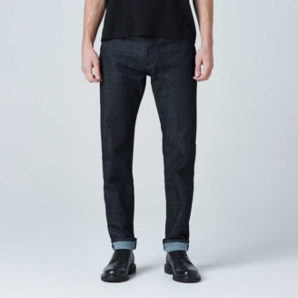 DSTLD Mens Slim Jeans in Dark Wash Resin - Grey Stitch