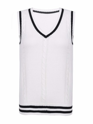 Freebily Women's Knitted Gilet Sweater V-Neck Sleeveless Jumper Vest Knitwear Cardigans White XL