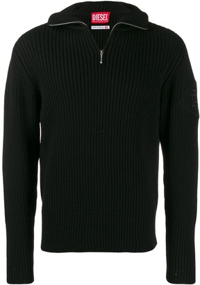 Diesel Red Tag Half Zip Rib Jumper