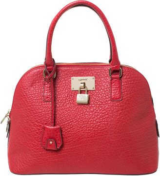 DKNY Red Grain Leather Padlock Dome Satchel