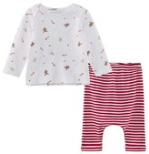 The Little White Company 2 Piece Gingerbread and Candy Cane Pyjama Set