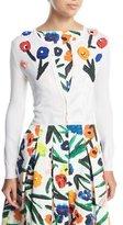 Oscar de la Renta Button-Front Silk Cardigan w/ Floral Appliques