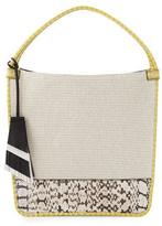 Proenza Schouler Medium Canvas & Snakeskin Tote Bag, Ecru