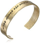 "Alisa Michelle Words To Live By"" 14K Gold Plated Don't Sweat The Small Stuff Stamp Cuff Bracelet"