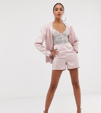 UNIQUE21 high shine high waist shorts co-ord-Pink