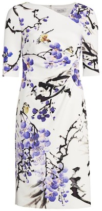 Teri Jon by Rickie Freeman Floral Asymmetric Neckline Dress