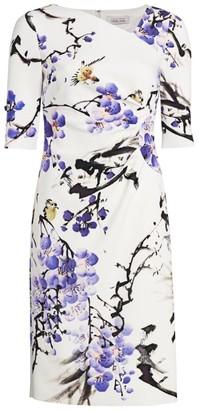 Teri Jon By Rickie Freeman Floral Asymmetric Neckline Dress