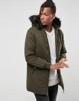 Brave Soul Longline Parka Detachable Faux Fur Hood