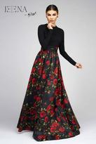 Ieena for Mac Duggal - 25266 Full Sleeve Gown In Black Rose