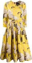 Samantha Sung bird print flared dress