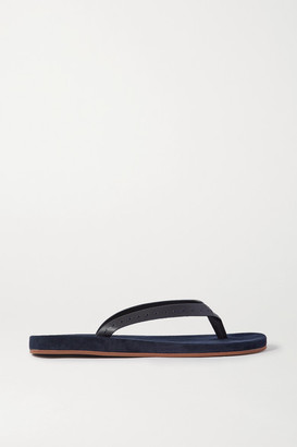 Loro Piana My Lp Topstitched Leather-trimmed Suede Flip Flops - Navy