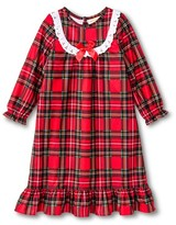 Komar Kids Toddler Girls' St. Eve Peas & Carrots Plaid Long Sleeve Nightgown Red