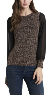 Vince Camuto Women's Plus Size Long Sleeve Sparkle Texture Top with Chiffon Sleeves