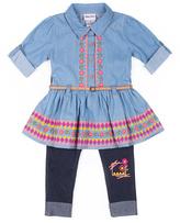 Little Lass Light Blue Embroidered Tunic & Leggings - Infant