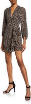 Shona Joy Buell Animal-Print Plunged Blouson-Sleeve Draped Mini Dress