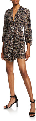 Shona Joy Buell Animal-Print Plunged Blouson-Sleeve Draped Mini Dress