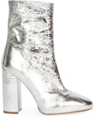 Dries Van Noten Metallic Leather Block Heel Booties